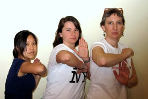 Two workshop attendees and instructor Lauren (right)